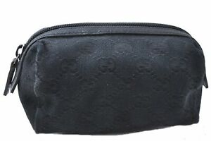Authentic GUCCI Pouch GG Canvas Leather Black C3005