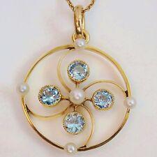 Antique Edwardian 15ct Gold Aquamarine & Pearl Pendant Necklace c1910 in Case