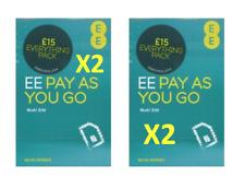 X2 EE Sim Card 4G £15 DATA PACK Pay As You Go PAYG Trio cut Standard/Micro/Nano