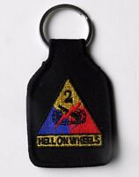 US ARMY 2nd ARMORED DIVISION EMBROIDERED KEY CHAIN KEY RING 1.75 X 2.75 INCHES