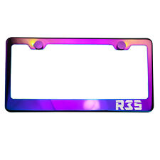 Polish Neo Neon Chrome License Plate Frame R35 Laser Etched Metal Screw Cap