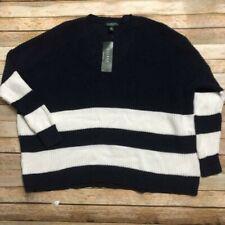 Ralph Lauren Womens V Neck Knit Navy White Sweater L Boho Style