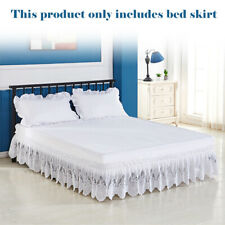 Bed Ruffle Skirt Elastic Lace Embroidered Valance Easy Fit Wrap Around Soft AU