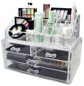 3 Tiers 4 Drawers Square Acrylic Clear Makeup Organizer Cosmetics