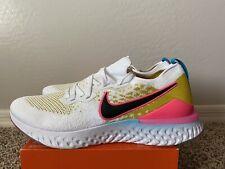 Nike Epic React Flyknit 2 Running Shoes White/Black Pink Blast CI7583-100 Sz.14