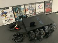Playstation 2 PS2 Fat Black Console Bundle w/ 2 Controllers 5 games 2Memory Card
