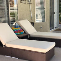 3 Piece PE Wicker Rattan Chaise Lounge Chair Bed Set Patio Furniture w/Table NEW