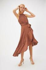 COAST Polkadot Ruffle Strappy Midi Dress in Tan - SIZE S