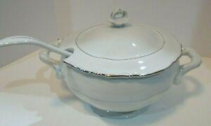 Chodziez Empress Soup Tureen w/Ladle - White Porcelain Platinum Trim Poland
