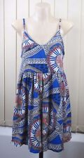 Size S 10 Ladies Blue Jump Suit Shorts Casual Gypsy Boho Chic Paisley Hip Style