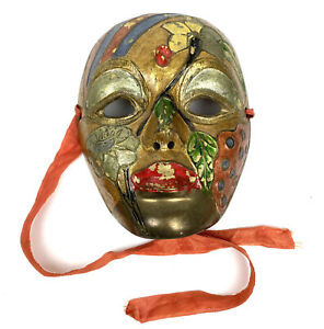 Vintage Solid Brass Face Mardi Grass Mask Wall Decor Art Handmade Made in India