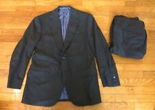 BESPOKE Oxxford Clothes Charcoal Pinstripe 2 Piece Suit 40 R 34W 29L