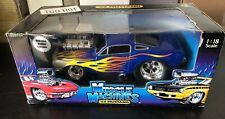 Muscle Machines 1:18 1966 Ford Mustang Blue With Flames New Funline
