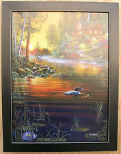 Garden Hideaway Lake Loons Jim Hansel Cabin  Framed Country Picture Print