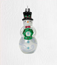 2010 Hallmark GLASS Ornament TIP TOP SNOWMAN Top Hat Frosty