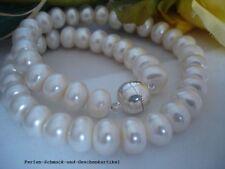 Collier Echte Perlen 11mm / 50cm Silk-Weiß TOP Lüster Magnetverschluss Geschenk
