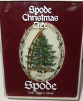 "Spode Christmas Ornament Tree Oval Porcelain 3"" Vintage 1997 NOS"