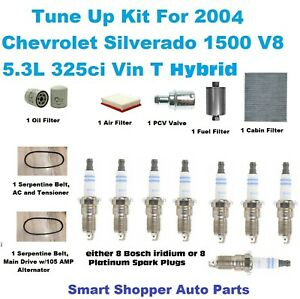 Tune Up Kit For 2004 Silverado 1500 Hybrid Acdelco Spark Plugs Belt PCV Filters