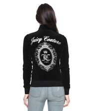 NWT Juicy Couture Enchanted Cameo Velour Fairfax Jacket in Pitch Black-Large
