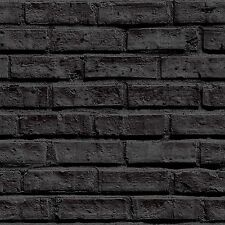 Arthouse VIP Black Brick Wallpaper 623007 Feature Full Wall Stone Effect 3D