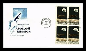 DR JIM STAMPS US APOLLO 8 SPACE FDC COVER SCOTT 1371 BLOCK FARNUM UNSEALED