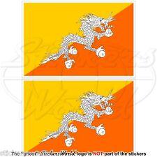 BHOUTAN Royaume Bhutani Drapeau Druk Yul Bhoutanais 100mm Vinyle Autocollants x2