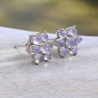 Flower Moonstone Stud Earrings Cluster 925 Sterling Silver Bohemian Gift for Her