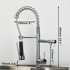 US Swivel Kitchen Pull Down Spray Sink Faucet Chrome Mixer Taps