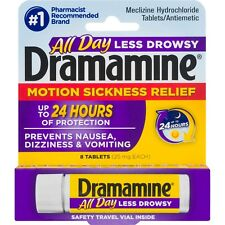 New Dramamine Motion Sickness Less Drowsy 24 Hr Tablets 8 Ct.