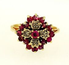 9Carat Yellow Gold Ruby & Diamond Cluster Ring (Size G 1/2) 12x12mm