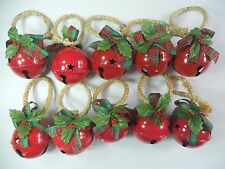 TEN Red Metal Christmas Jingle BELL Door Knob Hanger Holly Bow Stars Ball.
