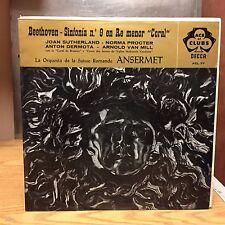 Ansermet Beethoven Sinfonia LP Decca VG+ Top Hit Sinfonia n. 9 en Re Menor Coral