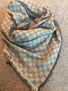 Gucci GG 140x140 Scarf Shawl Brown Beige Taupe Used