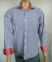 Bristol and Bull Mens Designer Long Sleeve Blue Plaid Shirt Red Flip Cuff SIze L