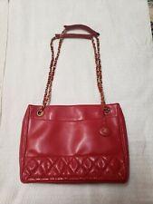 Chanel Vintage Red Lambskin Leather Gold Chain Link shoulder bag quilt stitch