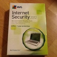 New Sealed Retail Box  AVG Internet Security 2012 3 PCs/Users 1 Year Protection