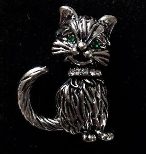 Silver cat brooch, NEW & Boxed - cat lover gift