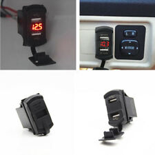 Dual Ports USB Charger Carling ARB Car Marine Boat Rocker Switch Panel Voltmeter