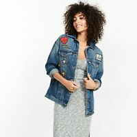 NWT Express Denim Jean Jacket With Patches Size Extra Small XS