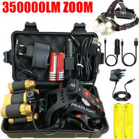 350000LM Rechargeable T6 LED Head Torch Light Headlamp Flashlight Set Waterproof