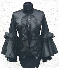 Raven Gothic Satin Blouse Front Frills And Double Laces Cuff In Size M/36""