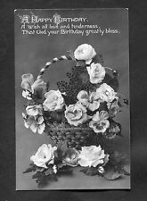 Posted 1910 Birthday Card - Basket of Roses - All Love and Tenderness