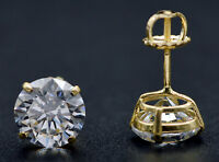 JM82 2.50ct Created Diamond Round Stud Earrings 14k Solid Yellow Gold Screw-Back