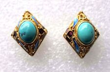 PRETTY VINTAGE CHINESE GOLD VERMEIL FILIGREE ENAMEL NATURAL TURQUOISE EARRINGS
