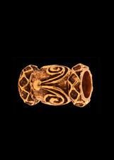 Bartperle m Spiralen & Rauten, Ø5mm Bronze Bartschmuck Vikings Wikinger Dreads