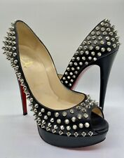 Christian Louboutin Black Leather Silver Spikes Platform Heels Shoes 39 US 8.5
