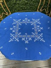 Vintage Boho Eclectic Blue & White Embroidered Linen Tablecloth 38 Sq