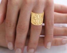Monogrammed Initials Ring (Order your Initials) - Sterling Silver W/24K Gold