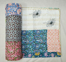 Indian Cotton Kantha Quilt Hand Block Print Assorted Patchwork Coverlet Bedding