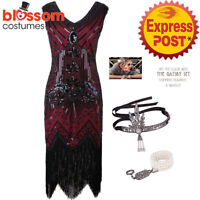 K225R Deluxe Ladies 20s 1920s Roaring Flapper Costume Sequin Gatsby Fancy Dress